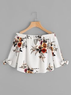 To find out about the V Cut Tie Cuff Florals Bardot Top at SHEIN, part of our latest Blouses ready to shop online today! Girls Fashion Clothes, Teen Fashion, Fashion Dresses, Clothes For Women, Womens Fashion, Crop Top Outfits, Trendy Outfits, Cute Outfits, Vetement Fashion