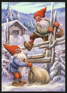 2 Elves Climb Fence Delivering Presents Jenny Nystrom Holiday Christmas Counted Cross Stitch Pattern Swedish Christmas, Scandinavian Christmas, Christmas Elf, Vintage Christmas, Legends And Myths, Cross Stitch Pictures, Old Fashioned Christmas, Counted Cross Stitch Patterns, Christmas Pictures