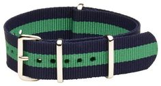 20mm Nato Ss Nylon Striped Navy Blue / Green Interchangeable Replacement Watch Band Strap