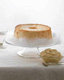 Angel Food Cake sitting on a cloud of cotton candy - making it with caramel whipped cream today