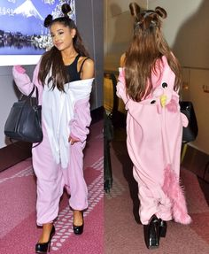 Ariana Grande Wears Saint Laurent Pumps with Pink Onesie After Being Named Second Most Hated Celebrity