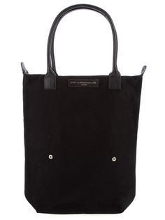 Black cotton tote bag from Want Les Essentiels De La Vie featuring leather top handles, zip closure and a leather logo tab.