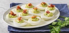 Green Goddess Devilled Eggs with Prosciutto Prosciutto Crudo, Prosciutto Recipes, Avocado Deviled Eggs, Best Deviled Eggs, Avocado Recipes, Egg Recipes, Dessert Recipes, Green Goddess, Picnic Foods