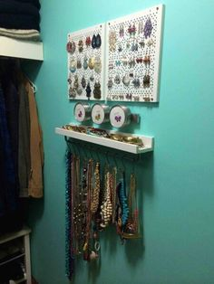 Ikea Hack for jewerly :Items used were with total cost of $62 : 2x Rational Variera shelf inserts, 1x Grundtal Magnetic knife rack, 1x 3 pack Grundtal containers, 1x Ribba picture ledge, 1x Bygel rail, 1x pack 10 Bygel 'S' hooks