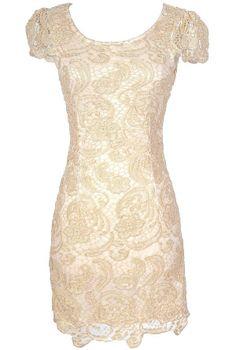 Nila Crochet Lace Capsleeve Pencil Dress in Beige Shimmer  www.lilyboutique.com
