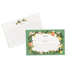 """Rifle Paper Co. Citrus Floral 4"""" x 6"""" Recipe Cards -- Set..."""