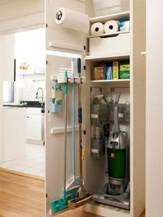 Cleaning storage in laundry room. Love this utility closet for the vacuum and other cleaning supplies for the mudroom - Home Decoration - Interior Design Ideas Apartment Storage, Closet Storage, Kitchen Storage Organization, Cleaning Closet, Bathroom Storage Organization, Small Bathroom Storage, Storage, Room Storage Diy, Laundry Room Storage Shelves