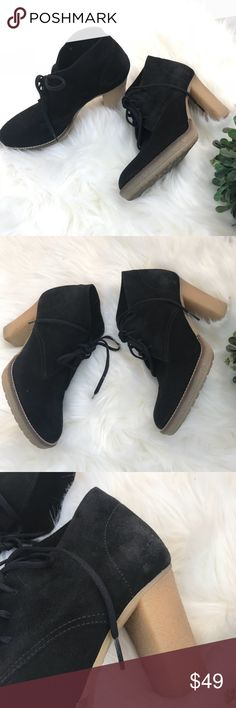 """J. CREW ankle boots platform Suede black size 9 J.CREW platform heel boots. Black faux suede. Size 9. Rubber soles. 3"""" soles. Some normal wear on the suede but still in good condition. J. Crew Shoes Ankle Boots & Booties"""