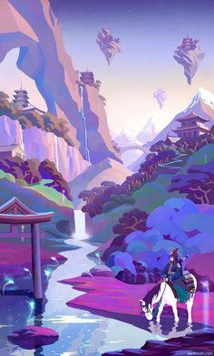 Digital Illustrations by Alex Tooth Landscape Illustration, Landscape Art, Digital Illustration, Mountain Illustration, Landscape Concept, Wow Art, Environment Concept Art, Anime Scenery, Art Background