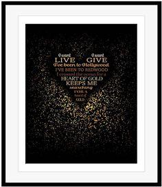 Neil Young Poster Art HEART OF GOLD Song Lyrics Art Music Print Gift Idea