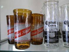 Old Beer Bottles Blown Into Drinking Glasses (or vases)