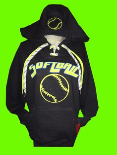 This Charcoal NEON Softball lace-up sweatshirt sweatshirt is a 9.5 oz. premium fleece hoodie is 80% cotton/ 20% poly is complete with a hidden cellphone pocket inside the pouch front pocket.