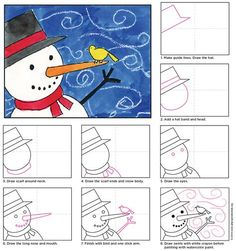 to draw a Windy Snowman. PDF tutorial available.How to draw a Windy Snowman. PDF tutorial available. Classroom Art Projects, School Art Projects, Art Classroom, Projects For Kids, Art 2nd Grade, Grade 2, Classe D'art, January Art, Winter Art Projects