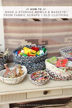 How to make beautiful storage bowls and baskets from your fabric scraps and worn out old clothing // Megan Nielsen Design Diary Fabric Remnants, Fabric Scraps, Buy Fabric, Fabric Cutting Table, Fabric Storage Baskets, Diy Storage, Storage Ideas, Fabric Bowls, Clothes Basket