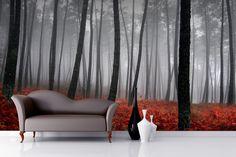 Misty Orange Floor Forest Mural Wallpaper