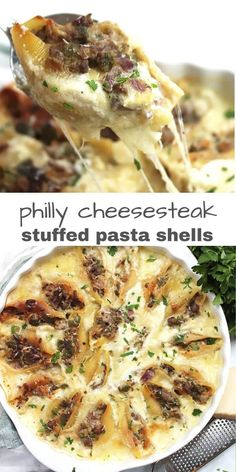 These Philly cheesesteak stuffed pasta shells are a delicious one pot meal that comes together quickly and easily with simple ingredients. Creamy and cheesy Stuffed Shells Recipe, Stuffed Pasta Shells, Ground Beef Stuffed Shells, Jumbo Shell Recipes, Planning Budget, Meal Planning, Easy One Pot Meals, Ground Beef Recipes Easy, Inexpensive Meals