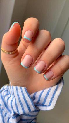 Cute Acrylic Nail Designs, Simple Acrylic Nails, Short Nail Designs, Best Acrylic Nails, Gel Manicure Designs, Gel French Manicure, Pink Tip Nails, Summer Gel Nails, Nail Colors For Summer