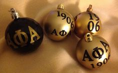 Set of four Fraternity ornaments inspired by by AddiCakeCreations, $14.49