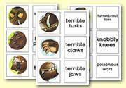'The Gruffalo' matching cards - Gruffalo Descriptions: zelf Ned. Gruffalo Activities, Gruffalo Party, The Gruffalo, Esl Lessons, Library Lessons, Kids Activity Books, Activities For Kids, Enchanted Wood, Matching Cards