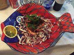 Gamberi rossi dei Mazara del vallo mangiati in un ristorantino nel centro di Favignana.