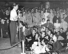 Historic Photograph of Mickey Rooney Performs For The Servicemen At The Hollywood Canteen