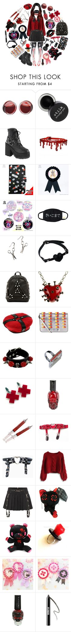 """On the dark side of Menhera"" by sw-13 ❤ liked on Polyvore featuring Demonia, Girly Pop, UNIF, INDIE HAIR, Moschino, Hot Topic, Chicwish, Ardency Inn and Rimmel"