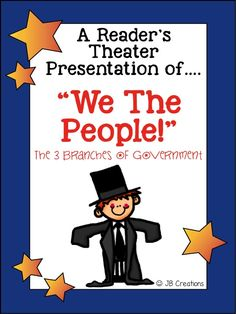 Students will bring the 3 branches of our government to life in this whole class script of We the People!  The fast moving script reviews the roles and responsibilities of the legislative, executive, and judicial branches in a fun, relaxed way! This original play contains 24 parts featuring various reading levels to ensure whole class participation, differentiation, and engagement.  https://www.teacherspayteachers.com/Product/Readers-Theater-Branches-of-Government-intermediate-grades-1730667