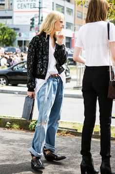 Hanne Gaby Odiele // Quilted black patent leather jacket + baggy jeans