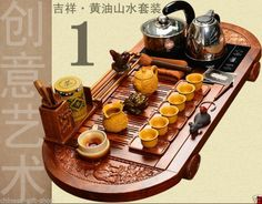 Chinese king tea set purely hand-carved Boutique Butter landscape tea set gift