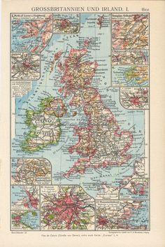 Vintage #Britishisles map. #Greatbritainmap print. #UnitedKingdom #map. #Britain #decor. #British #souvenir. #UKmap. #Britainlover gift. #vintagemaps #vintagedecor Map Of Britain, Great Britain, United Kingdom Map, German Language, Antique Maps, British Isles, Botanical Art, Im Not Perfect, Vintage World Maps