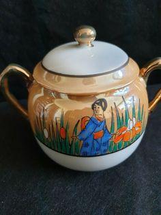 Old Porcelain China Luster Japan pottery Dai Nippon sugar bowl marked hieroglyph