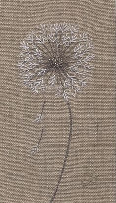Jo Butcher, Embroidery Artist - Dandelion Clock Head Although this isn't anatomically correct the simplistic design of this works beautifully and the mind fills in the gaps ♡♡♡ Silk Ribbon Embroidery, Crewel Embroidery, Cross Stitch Embroidery, Embroidery Patterns, Machine Embroidery, Embroidery Supplies, Embroidery Dress, Embroidery Tattoo, Dandelion Clock