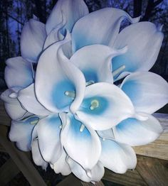 Real Touch Malibu Blue & White Calla Lily 15 piece Wedding Set by SilkFlowersByJean, $372.00 Also available in Purple/White