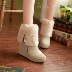 Beautiful Warm Wedge Heels Snow Boots