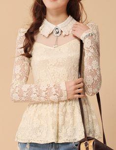 Sweet Collar Lace Peplum Top - Glitzx