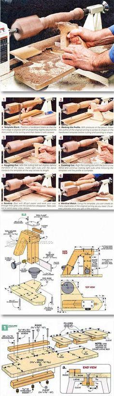 DIY Wood Lathe Duplicator - Lathe Tips, Jigs and Fixtures | WoodArchivist.com #woodworkingtips