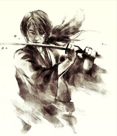 Kenshin himura Kenshin Anime, Rurouni Kenshin, Manga Art, Manga Anime, Anime Art, Japanese Drawings, Japanese Art, I Love Anime, Awesome Anime