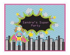 Super Hero Girl Birthday Party Sign