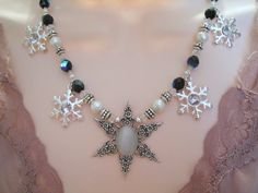 Winter Solstice Necklace, wiccan jewelry victorian renaissance goth rocker gypsy wedding handfasting witch pagan metaphysical new age. $34.00, via Etsy.