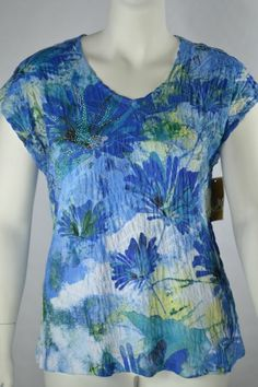 JM CollectionBlue ChicPull Over Tunic TopGrad Floral Burst V-Neck XLarge #JMCollection #Tunic