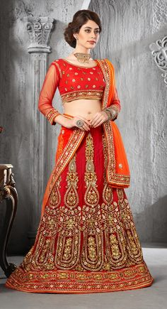 Red Bridal Net Lehenga Choli