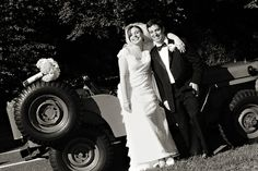 Posing with the wedding day ride - a 1954 Willys Jeep 4x4