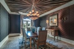 Gary LeVox's beautiful dark brown dining room has a beautiful fabric draped ceiling complete with a chandelier. See MORE country star homes here>> http://my.gactv.com/at-home/multigallery.esi