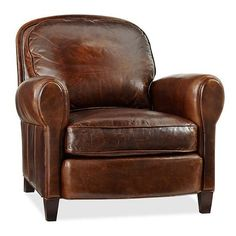 Pottery Barn Rowling Leather Armchair ($2,299) found on Polyvore
