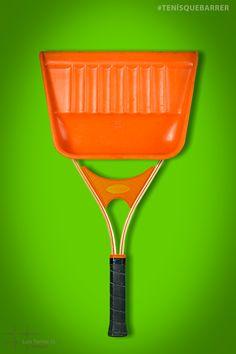 Tenís que barrer. Juego de palabras que nace de un chiste agrio de mi ciudad. #Tennis #TennisRacquet #TennisRacket #Tenis #Sweep #SweepingShovel #Barrer #Raqueta. Grill Pan, Tennis Racket, Game, City, Tennis, Words, Griddle Pan