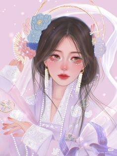 China Art, Korean Art, Anime Fantasy, Anime Art Girl, Woman Painting, Pink Girl, Art Photography, Animation, Fan Art