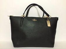 NEW Coach Ava Crossgrain Leather Tote F57526 Black $350