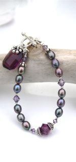 Amethyst Swarovski  Graphic Bracelet with sterling silver accents and chain.