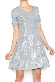 Frozen Swing Dress - A-line dress with short sleeves, crew neck and silver metallic detailing.
