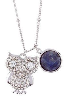 Owl Necklace. Love the purple.